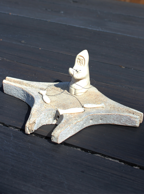 Inuit Carving Whalebone Fisherman By Crow Wolf Den